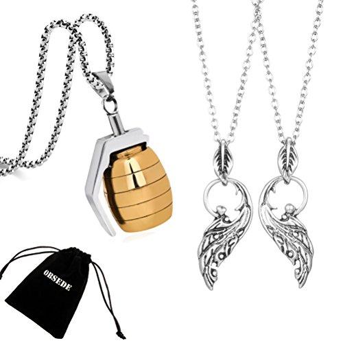 ings Halsketten Schmuck Gold Edelstahl Handgranate Kette Anhänger 3 STÜCKE (Neue Paare Kostüme)