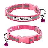 Colliers pour animal domestique Berry, collier réfléchissant en nylon avec plaque à graver personnalisée, taille XS 21-32cm - Noir