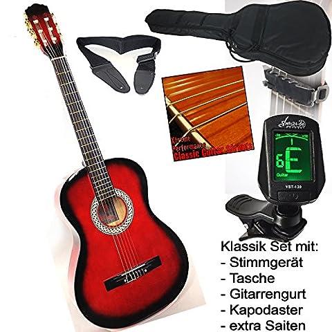 Guitare de concert élèves classique en rouge ombragés, avec cordes