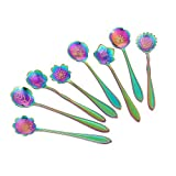 Flower Spoon Set, niceEshop(TM)Set of 8 Stainless Steel Teaspoon Colorful Coffee Spoon Tea Spoon Mixing Spoon Sugar Spoon, Rainbow