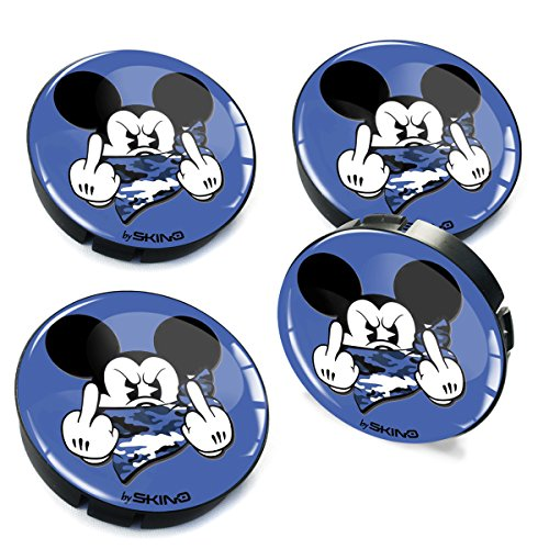 Skinotm 4 x 60 mm Voiture Centre de Roue caches Jantes hub Mickey Mouse Bleu Doigt d'honneur en Forme de dôme Badge véhicule Auto Tuning Emblème C 37