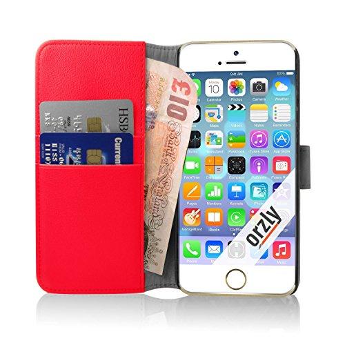 Orzly® - Multi-Functional Wallet Stand Case für Apple iPhone 6 PLUS & 6S PLUS (2014 & 2015 Versionen der 5.5 Zoll Modell) - SCHUTZHÜLLE mit integrierte BRIEFTASCHE + STAND mit Magnetischen Deckel - SC ROT MFW für iPhone 6 PLUS & 6S PLUS