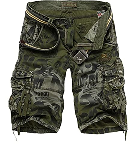 Passion-EYE Men's Combat Summer Causal Military Style Cargo Army Shorts Multi Pocket Plus Size (34, Army
