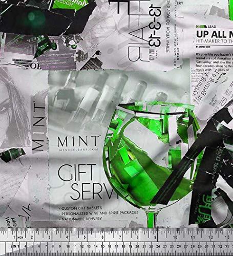 Soimoi Grun japanischer Kreppsatin Stoff News Paper, Weinglas & High Heels Mode Stoff Meterware 42 Zoll breit -