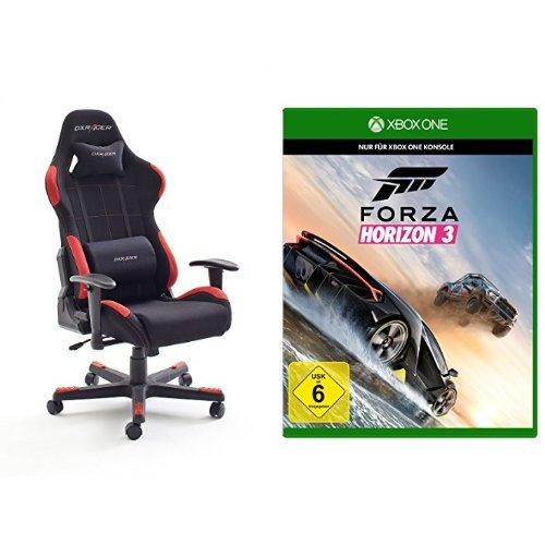 DX Racer1 Gaming Stuhl  78 x 124-134 x 52 cm, Stoffbezug schwarz / rot + Forza Horizon 3