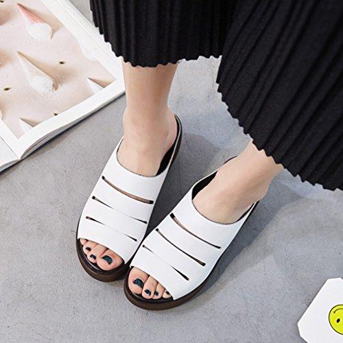 Damen Pantoletten Dicke Sohle Plateau Aufzug Keilabsatz Sommer Slappen Freizeit Einfache Komfort Schuhe Weiß