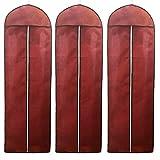 TUKA [3st. Atmungsaktiver Kleidersack 180cm, Schutzhülle für Brautkleider/Abendkleider / Anzüge/Mäntel, Langer Reissverschluss - Dunkelrot, TKB1005 darkred-3x