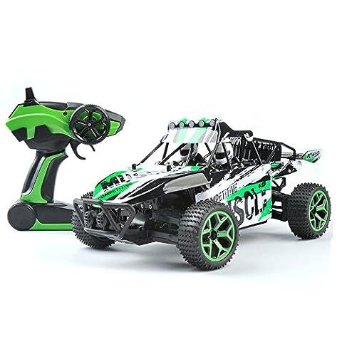 GizmoVine RC Auto 4WD Hochgeschwindigkeit 1:18 Maßstab, 2.4Ghz Ferngesteuerter Racing-Buggy Auto Spielzeug , Fahrzeug mit aufladbaren Batterien - Grün