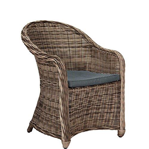 Butlers Sunday Rattan-Stuhl mit Kissen für drinnen und draußen - braun - 56 x 68 x 84 cm (Korbstuhl Kissen)