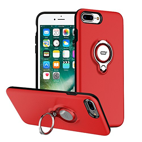 iPhone 7 Plus Hülle, iPhone 8 Plus Tasche mit Ringständer von ICONFLANG, 360 Grad drehbarer Ring Grip Case, Dual Layer Stoßfest Schlagschutz für iPhone 8 Plus / 7Plus,Kompatibel mit Magnetic Car Mount