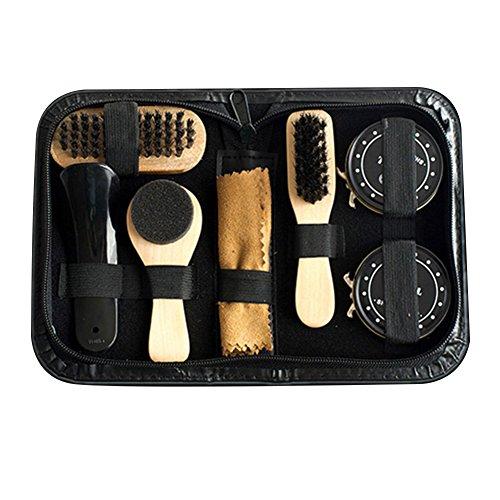 Sue supply shoe care kit, 8-pezzi travel shoe shine brush kits shoe polish set per scarpe in pelle care set
