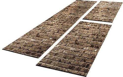 Bettumrandung 3 Tlg Designer Teppich Läufer Steinwand Optik in Braun Beige, Grösse:2mal 80x150 1mal 80x300
