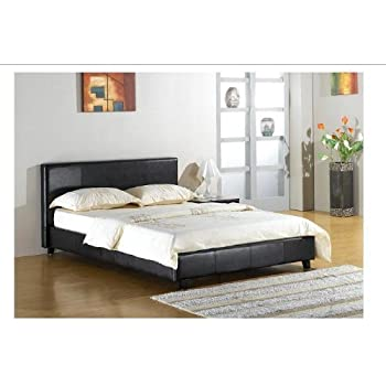 this item black 4ft small double faux leather bed frame - Leather Bed Frame