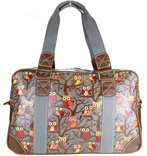 Miss Lulu Handtasche, Schultertasche, Damen, Eule, Schmetterling, Blumen, gepunktet, Wachstuch. Zum Reisen, über Nacht, Wochenende, Schultasche, - Grau Eulen - Größe: L