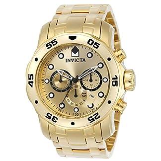 Invicta Pro Diver – Scuba Men's Wrist Watch Stainless Steel Quartz Gold Dial – 0074