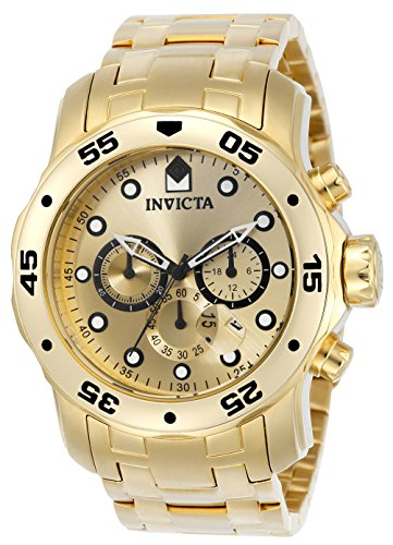 Invicta 0074 Pro Diver - Scuba Herren Uhr Edelstahl Quarz goldenen Zifferblat
