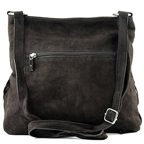 Borsa a mano borsa a tracolla shopping bag donna in vera pelle italiana T02 Dunkelbraun