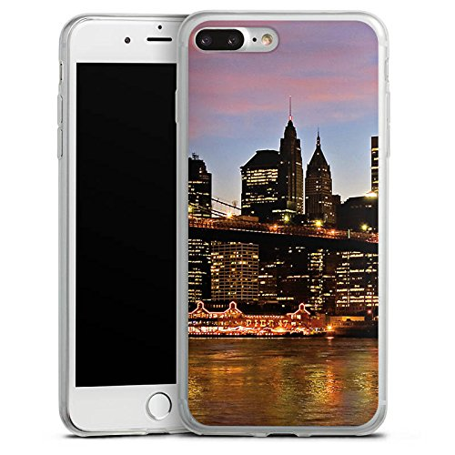 Apple iPhone 8 Slim Case Silikon Hülle Schutzhülle New York Night Brücke Stadt Silikon Slim Case transparent