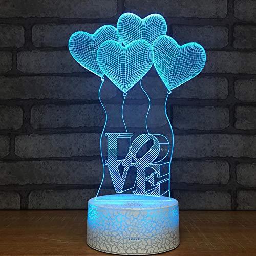 YDBDB Ideen Liebes Ballon Led Nachtlicht Bunte Popcorn Air Valentinstag Geschenk 3D Leuchten Kinderzimmer Led Lichter