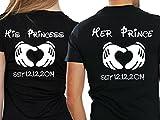 Urban Kingz Partner Herren + Damen T-Shirt Set HER Prince & HIS Princess mit WUNSCHDATUM, Herren M, Damen S, Schwarz