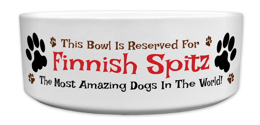 'This Bowl Is Reserved For Finnish Spitz, The Most Amazing Dogs In The World!', Fun Dog Breed Specific Text Design, Good Quality Ceramic Dog Bowl, Size 176mm D x 72mm H approximately.