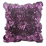 Nunubee Kissenbezüge Europäische Hochzeitsserie Elegante 3D Rose Stickerei Blumen-Design Kissenbezug Sofakissen Fall Bett Dekor, Lila 42x42cm