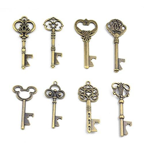 Assortiert 16 Antik Bronze Schlüssel Förmchen Flaschenöffner Hochzeit Gefälligkeiten Rustikale Dekoration (Antik Bronze) (Favor Party Flasche Antike)