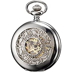 KS Mens Silver Skeleton Hand-Winding Mechanical Analog Pocket Watch + Chain KSP048