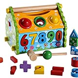#5: Happy GiftMart 6 in 1 Infant Baby Progress Toys For Colors, Number Blocks, Shape Blocks, Fun Math + Clock + Buiding House Toy for Kids Wooden