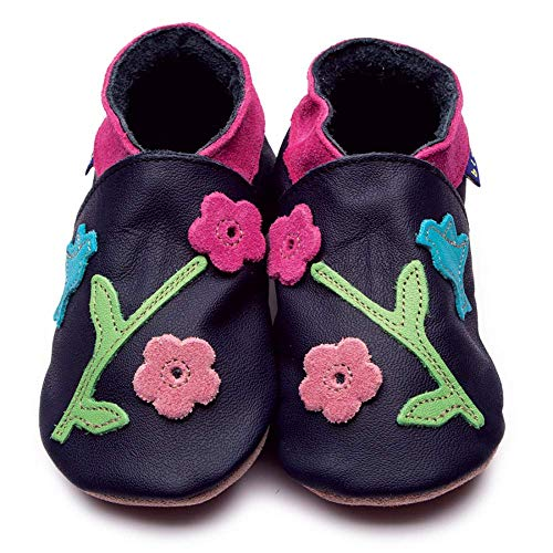 Inch Blue Mädchen/Jungen Schuhe für den Kinderwagen aus luxuriösem Leder - Weiche Sohle - Kolibri Dunkelblau