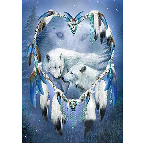 DIY 5D Diamond Painting by Number Kit for Adult,Full Drill Diamond Painting Bear Dream Catcher,Embroidery Cross Stitch Arts Craft Home Wall Decoration,11.8×15.7in