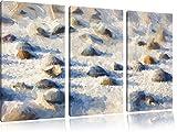 Conchiglie nella sabbia arte pennello effetti tela di canapa 3 PC 120x80 immagine sulla tela, XXL enormi immagini completamente Pagina con la barella, stampa artistica su murale cornice gänstiger come la pittura o un dipinto ad olio, non un manifesto o un banner,