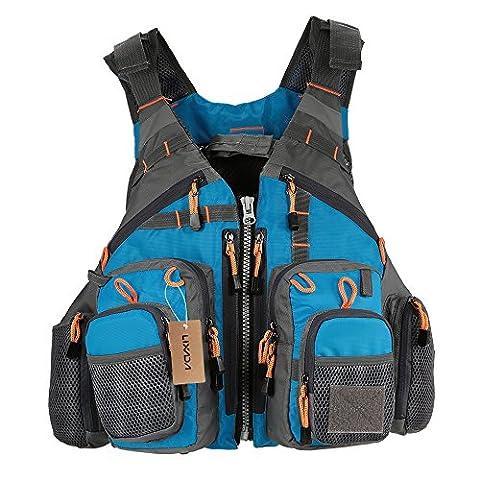 Lixada Fishing Life Vest - Fishing Vest Pack - Life Safety Jacket - Swimming Sailing Waistcoat Utility Vest Floatation Floating Device