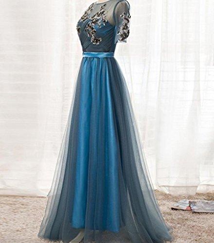 Drasawee Damen Empire Kleid Blau - Blau