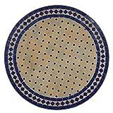 Casa Moro Orientalischer marokkanischer Mosaiktisch Gartentisch Mosaikkunst Bistrotisch Handmade Mosaik Tisch Kunsthandwerk Beistelltisch Balkontisch Ø 100 cm Blau aus Marokko