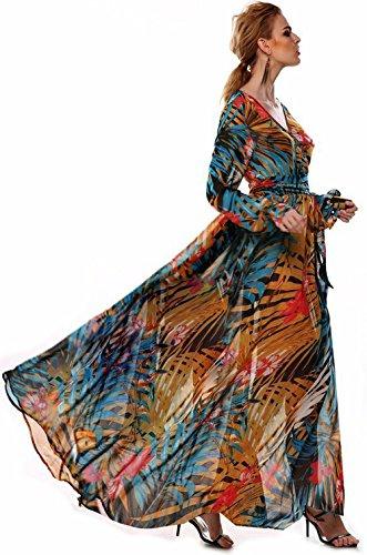 Qissy® Femme Floral Imprimé Robe Mousseline Col V Bohème Manche Longue, Robe de Soirée, Robe de Party Chiffon Bohème Plage Mer Bleu