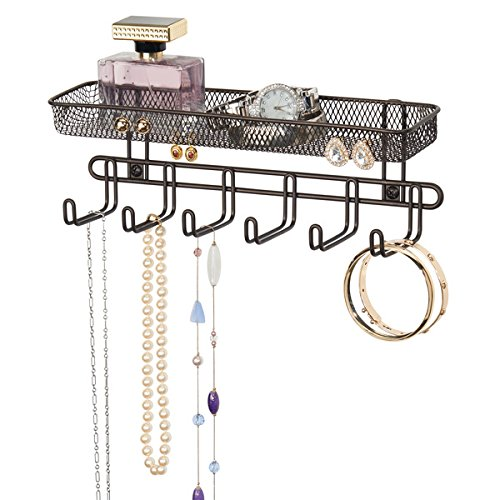 mDesign Practical jewelry organizer for wall- With 6 hooks and 2 compartments - Jewelry box for rings, glasses, necklaces, earrings and other accessories - Jewelery box with hooks - Color: bronze