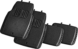 Suzec 130340 Car Foot/Floor Rubber Universal Mat with Minute Pockets (Set of 5, Black)