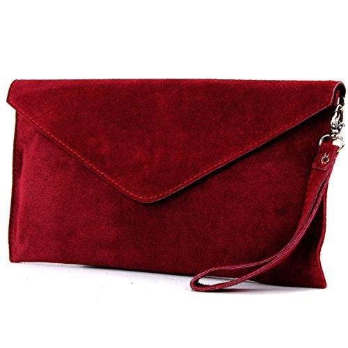 modamoda de–Pochette italiana in pelle, con passante, da donna, camoscio, T106 Rosso scuro