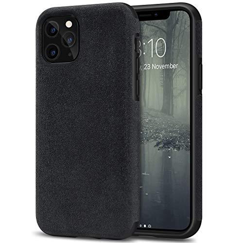 TENDLIN Cover iPhone 11 PRO Fatta di Materiale Alcantara Custodia Hybrid in Pelle Cover (Nero)