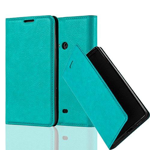 Cadorabo Hülle für Nokia Lumia 625 - Hülle in Petrol TÜRKIS – Handyhülle mit Magnetverschluss, Standfunktion und Kartenfach - Case Cover Schutzhülle Etui Tasche Book Klapp Style