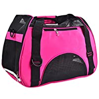 LvRao Pet Tote Bag Cozy Carrier Handbag for Cats, Dogs Mesh Portable Pet House (Rose, M: 44 * 23 * 32cm)