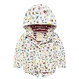 Nice Dia - Regenjacke Kinder Mädchen Softshell-Jacke Wasserdicht Gefüttert Warm Aufdruck Kinder Jacket mit Kapuze Regenmantel Herbst Winter Sportjacke Outdoor (Weiß, 104/110)
