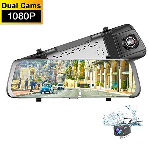 1080P Retrovisor Coche Con Camara,Dash CAM Espejo Retrovisor,10 Pulgadas Full HD Cámara para Visión Nocturna G-Sensor Cámara Vista Trasera 170 ° Gran Angulares