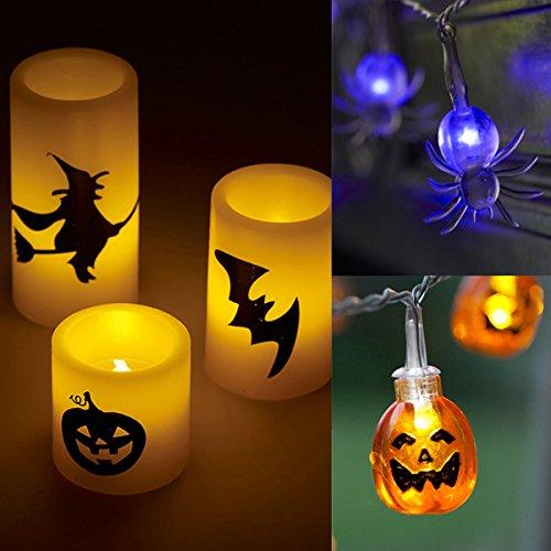 Halloween Set inkl. 3er Set LED Kerzen LED Spinnen Lichterkette Kürbis (Kostüm Spaß Passenden Ideen)