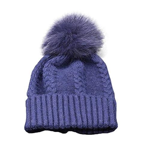 Omiky® - Ensemble bonnet, écharpe et gants - Femme - bleu - taille libre