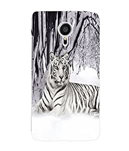 Fuson 3D Printed White Tiger Designer Back Case Cover for Meizu MX5 - D713