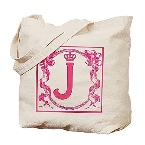 CafePress–Buchstabe J Fuchsia Bänder Monogramm Tasche–Leinwand Natur Tasche, Reinigungstuch Einkaufstasche