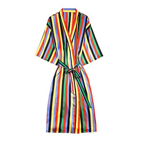 Hucode Damen Simulation Silk Pyjamas Sexy Dessous Robe Bademantel Braut Morgenmantel Gürtel Langes Nachthemd Freizeit Strickjacke (Dessous Roben Lange)