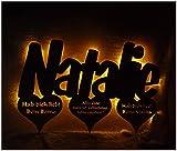 Schlummerlicht24 Nachtlicht'Natalie', LED-Lampe mit Name und Farbe nach Wunsch, ideal als Geschenk, handgemacht